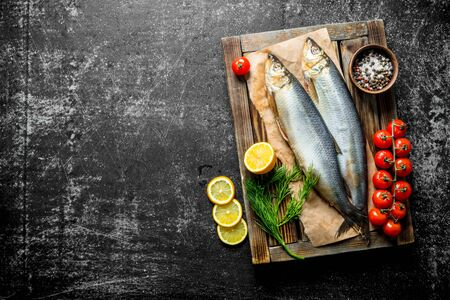 Salted herring on tray with tomatoes, lemon, dill and spices. On dark rustic background Banque d'images - 124763638