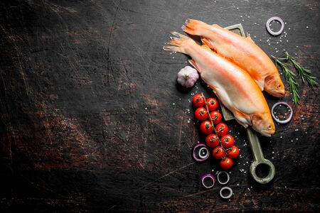 Raw trout fish with onion rings, tomatoes, rosemary and garlic. On dark rustic background Фото со стока