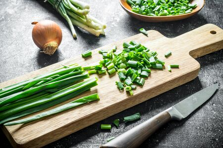 Green onion sliced on a cutting Board with onion. On dark rustic background Stok Fotoğraf
