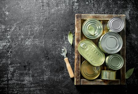 Range of different closed cans with canned food on a tray with a can opener. On dark rustic background
