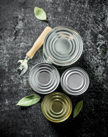 Assortment of various cans with the can opener and the Bay leaf. On dark rustic background