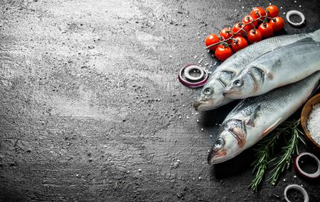 Raw seabass fish with tomatoes, rosemary and onion rings. On black rustic background Stok Fotoğraf