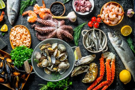 Healthy diet food. A variety of fresh seafood. On rustic background Stok Fotoğraf