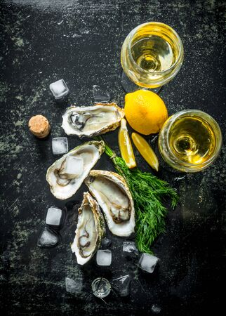 Fresh raw oysters with ice cubes, dill, lemon and wine. On dark rustic background Stok Fotoğraf - 124763463