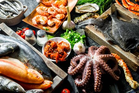 Sea fish on tray with octopus, herbs and garlic. On dark rustic background Фото со стока