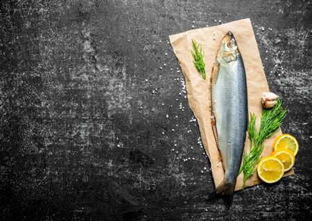 Salted herring on paper with dill, lemon and garlic cloves. On dark rustic background