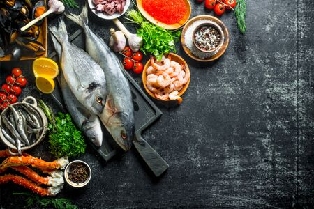 Fresh fish with shrimp, crab and herbs. On dark rustic background 写真素材