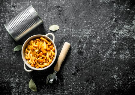 Canned mushrooms in a bowl with a tin can and a can opener. On dark rustic background