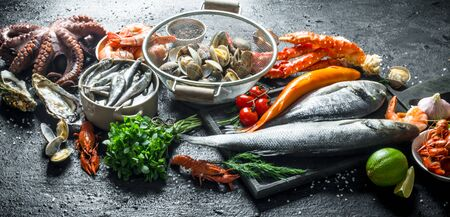 Seafood. Fresh fish with oysters in colander, crab, octopus, shrimp and crayfish. On black rustic background 写真素材