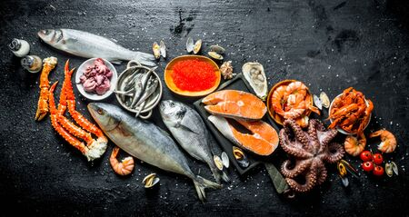 Fresh salmon steak with octopus, caviar, shrimp and crayfish. On black rustic background