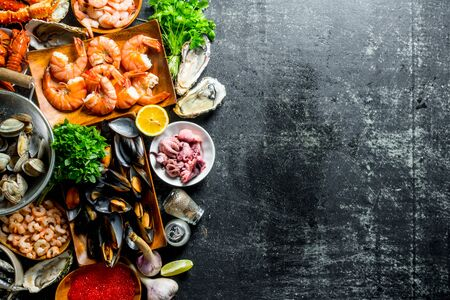 Assortment of different seafood with garlic, herbs and spices. On dark rustic background Фото со стока