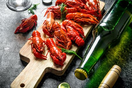Boiled crayfish with a bottle of beer. On dark rustic background Stok Fotoğraf