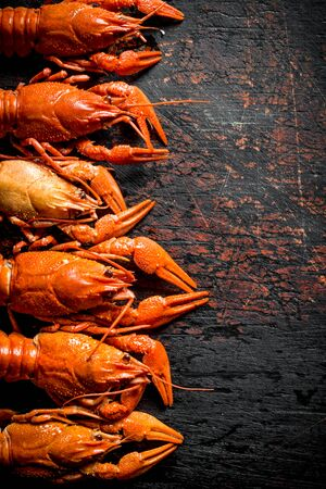 Delicious cooked crayfish. On dark rustic background Stok Fotoğraf