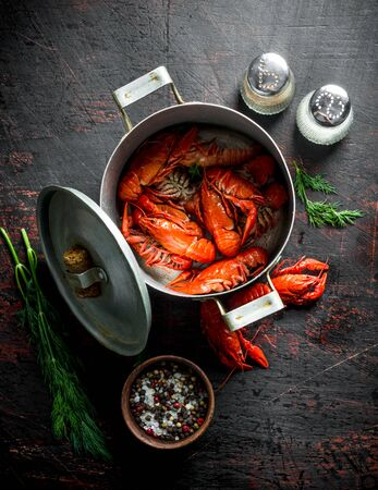 Red cooked crayfish in a pan with spices and dill. On dark rustic background Stok Fotoğraf