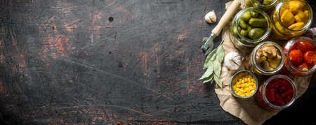 Preserved vegetables on paper with garlic and Bay leaf. On dark rustic background Stock Photo