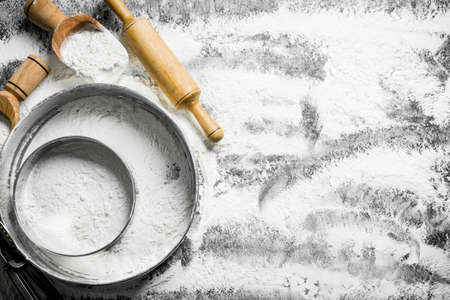 Flour in different sieve. On rustic background