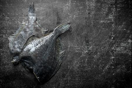 Fresh raw fish flounder. On dark rustic background