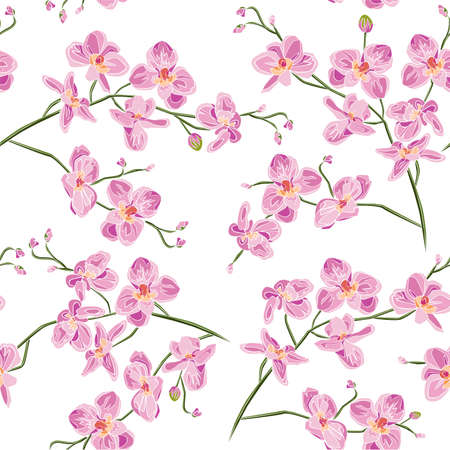 Seamless texture branches orchid flowers a leaves stem and buds. Vector botanical illustration