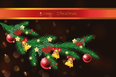 furtree: Vector Christmas fur-tree branch decorated with holiday decorations.  Vector illustration Illustration