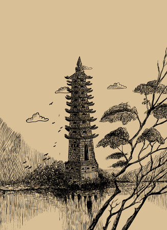 Chinese landscape with a tower. Vector illustration