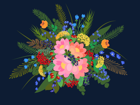 everlasting: Richly composition with flowers and forest plants.  Vector illustration Illustration