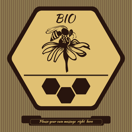 bee on flower: Flower on a light background with a bee with brown honeycomb, honeycombs depicted in a pot of honey, flying bee, flower with bee