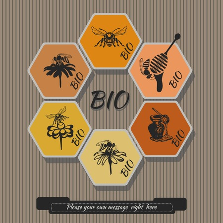 shortcuts: Set for honey icons and shortcuts. Abstract design of a bee.