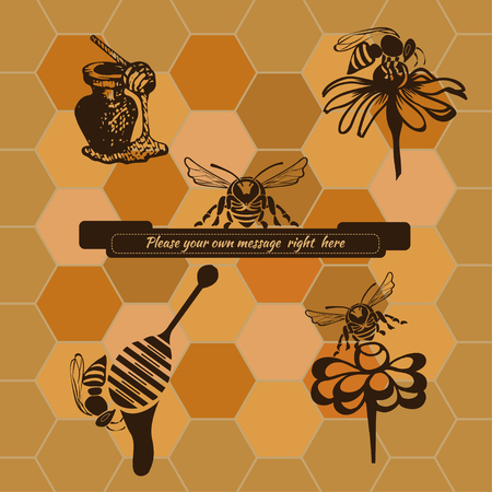 shortcuts: Set isolated objects, icons and shortcuts in brown on beige background with honeycombs and text-Banner Illustration