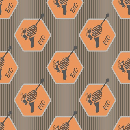 Striped gray background labels in the form of hexagons, like a honeycomb inside labeled bio sits bee on honey dipper. Vector illustration Illustration