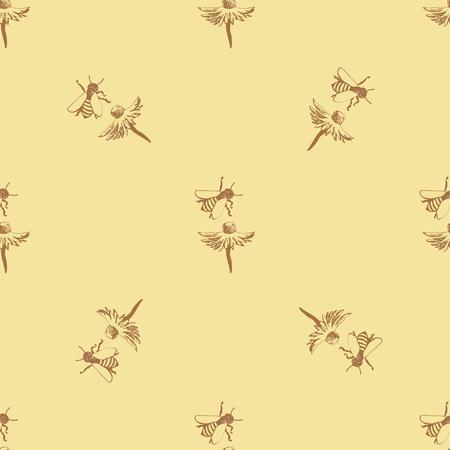patrones de flores: ornamento geométrico en un fondo de color amarillo claro, representa una flor con la abeja