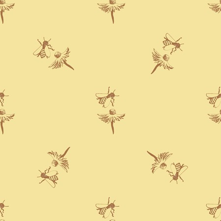 Geometric ornament on a light yellow background, depicts a flower with bee Illustration