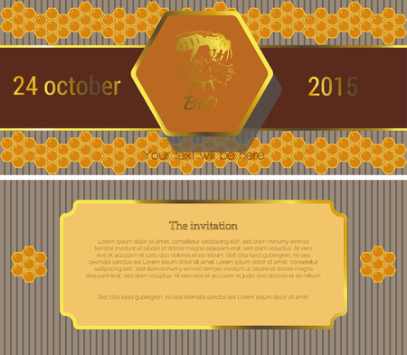 fairs: The first page of the invitation to a striped gray background, shows the brown stripe with gold lettering on top of which is depicted hexagon orange inside flower with bee sitting on top and bottom of the pattern of yellow combs, on the second page of the Illustration