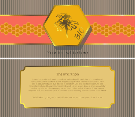 fairs: The first page of the invitation to a striped gray background, with a red stripe with a pattern of yellow honeycomb, which is depicted on top of a hexagon yellow, inside the flower with a bee sitting on the second page of the invitation to a striped gray