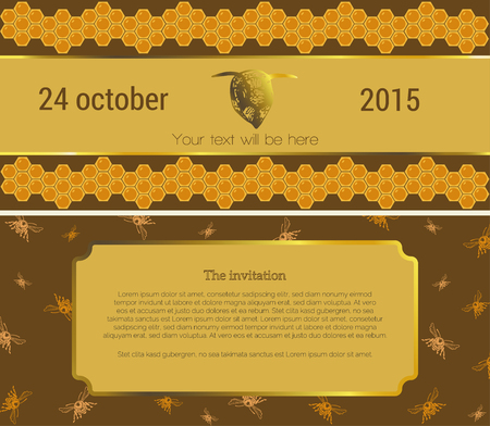 fairs: Invitation to the first side of the invitation on a brown background, is shown the yellow stripe, it depicts the head of bees and bee under the text, with the two sides of the strip conditional text above and below the yellow pattern polosf passes from be