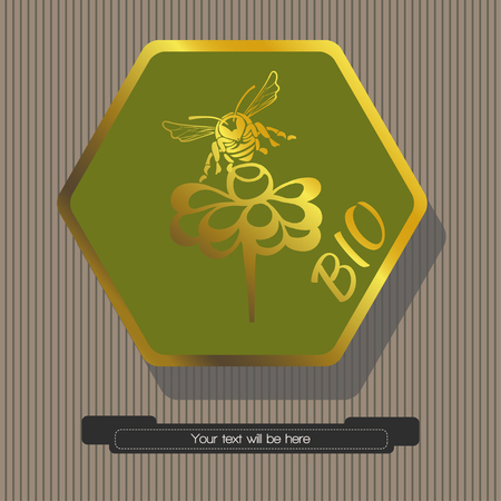Striped gray background green hexagon with gold frame within which depicted sitting on a flower bee with the word bio, a hexagon-text banner Векторная Иллюстрация