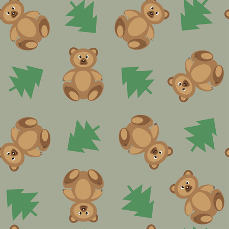 spruce: Seamless pattern with teddy bear and spruce
