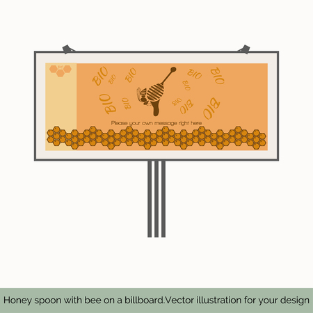 fairs: Isolated on white background, billboard depicted in the center sitting on a spoon of honey bee on a bright background behind the letters BIO below depicts a vertical pattern of honeycomb