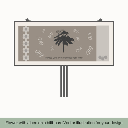fairs: Isolated on white background, billboard depicted in the center sitting on a flower bee on a gray background behind the letters BIO left depicts a vertical pattern of honeycomb