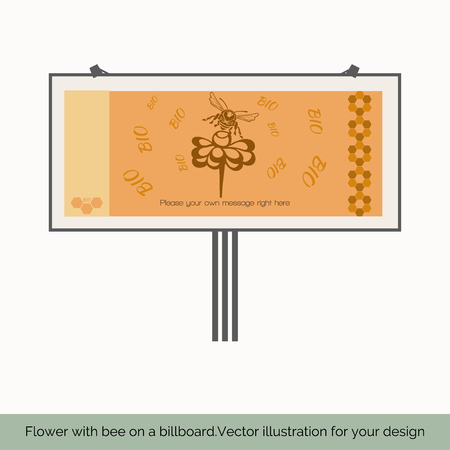fairs: Isolated on white background, depicts a billboard, which shows a bee sitting on a flower, bees around a flower bio text to the right pattern of bee honeycombs