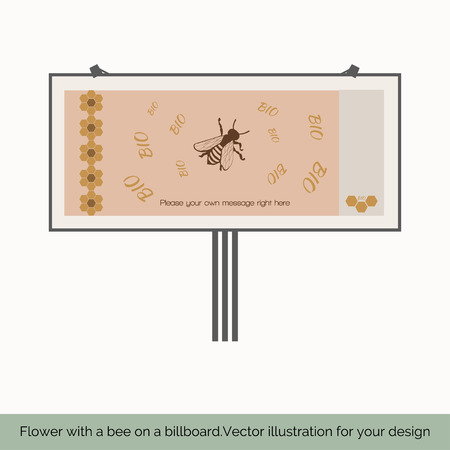 fairs: Isolated on white background, depicts a shield that shows bee, bees around the text bio, honeycomb pattern on the left