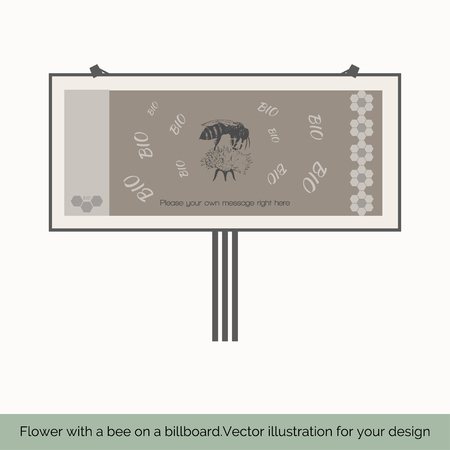 fairs: Isolated on white background, billboard depicted in the center sitting on a flower bee on a gray background behind the letters BIO right shows vertical pattern cell