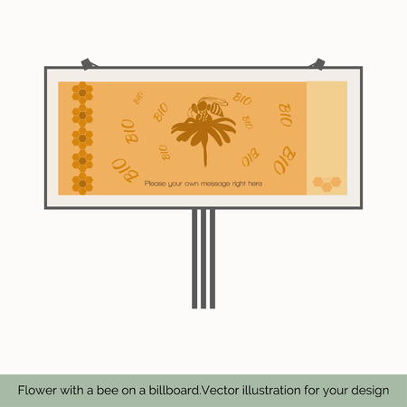 fairs: Isolated on white background, depicts a shield, which shows a bee sitting on a flower, bees around a flower bio text, a honeycomb pattern on the left