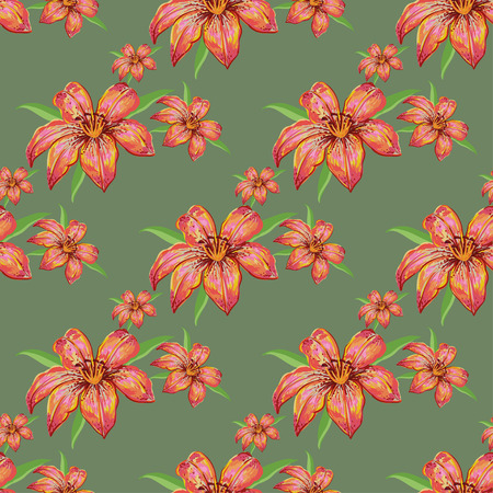 tiger lily: Floral seamless pattern of pastel pink lilies on a gray background