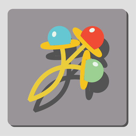 rattles: On a gray background icons displayed rattles for children. Design element