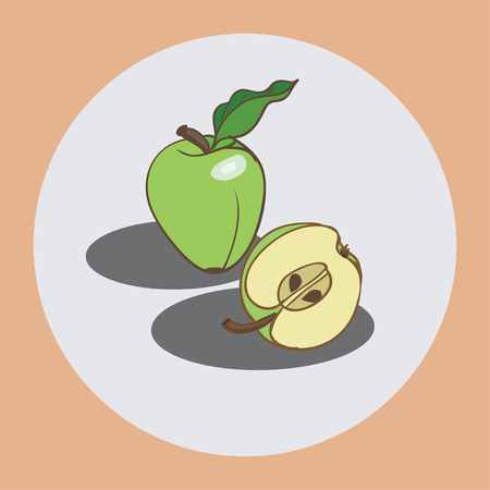 depicted: On the icon depicted on a white background green apples. Design element