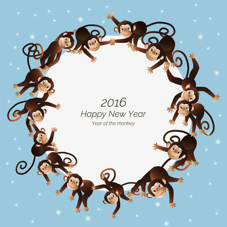 gorila: On a blue background depicts a white circle on the edge of which is shown, funny monkey, in the center of the white circle Happy New Year Illustration