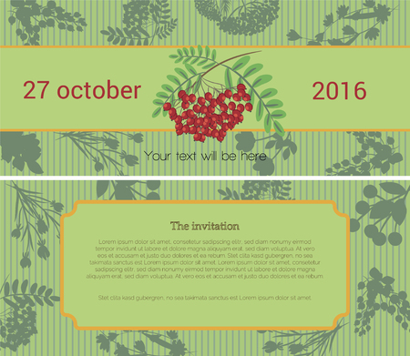 health fair: On top of the Invitational card depicts a bunch of mountain ash, beneath a light green band with text, the date and the background pattern of stylized plants on the bottom of the Invitational map shows the area for text, background stylized background fro Illustration