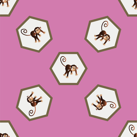 depicts: On a pink background depicts a pattern with cheerful monkeys