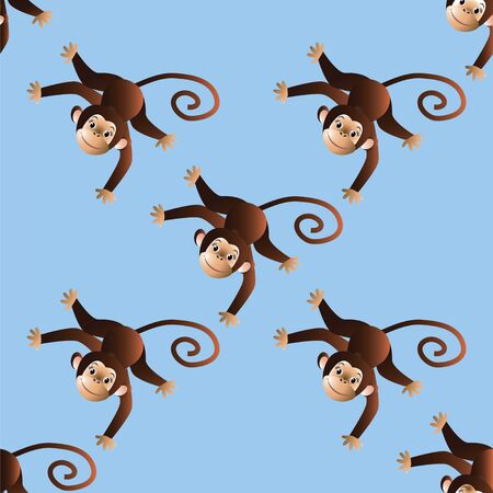 chimpanzees: On a blue background pattern with cheerful monkeys. Vector illustration Illustration