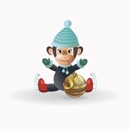 gorila: On a white background depicts a monkey sitting on a gold Christmas tree ball